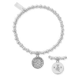 Silver Initials & Mistletoe Didi Sparkle Moon Flower Bracelet