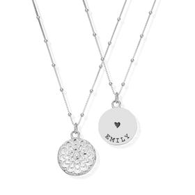 Silver Heart with Name Moon Flower Necklace