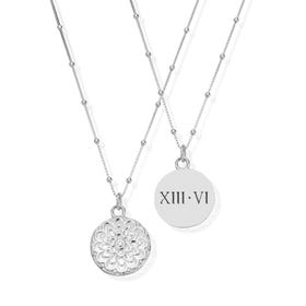 Silver Roman Numeral Date Moon Flower Necklace