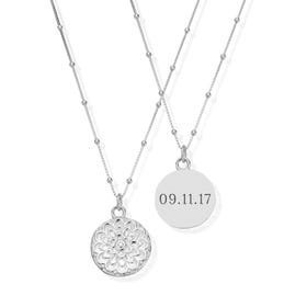 Silver Date Moon Flower Necklace