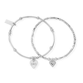 Silver Carved Initials Bracelet Set