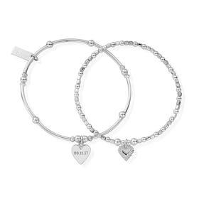 Silver Date Bracelet Set