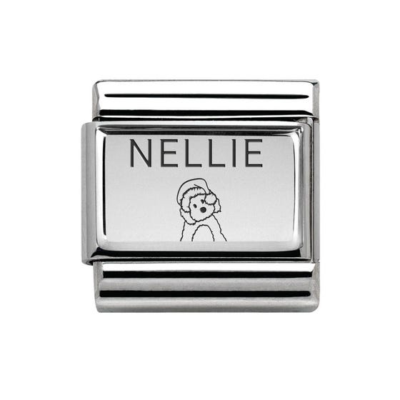 Classic Silver Charm Engraved with Name & Dog