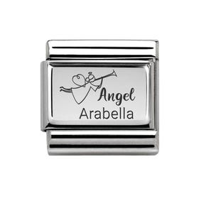 Classic Silver Charm Engraved with Name & Angel