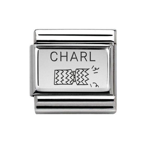 Classic Silver Charm Engraved with Name & Left Cracker