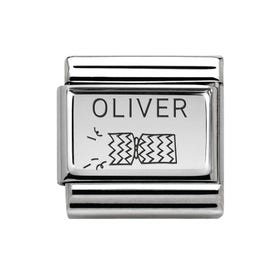 Classic Silver Charm Engraved with Name & Right Cracker