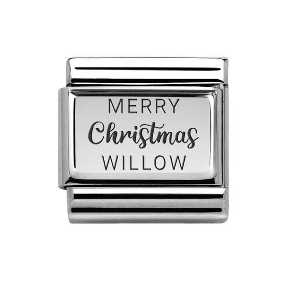 Classic Silver Charm Engraved with Name & Merry Christmas