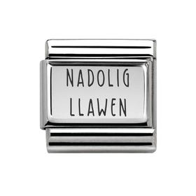 Classic Silver Charm Engraved with Nadolig Llawen