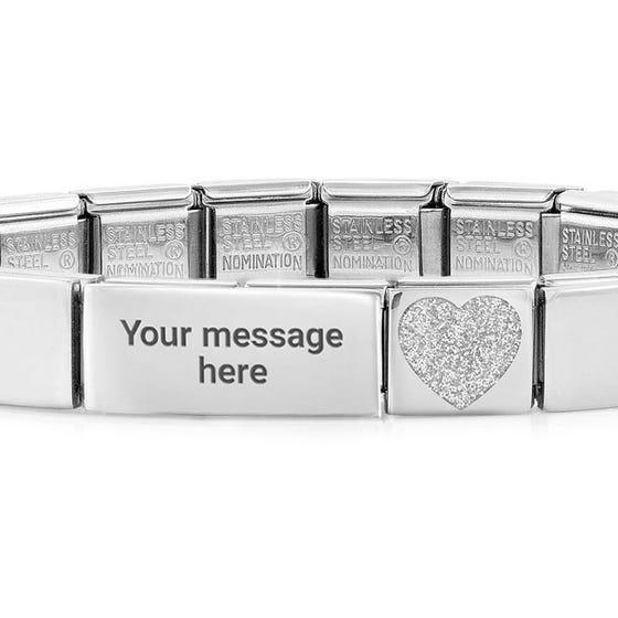 GLAM Glitter Heart Engravable Bracelet