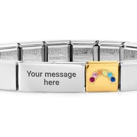 GLAM Gold CZ Rainbow Charm Engravable Bracelet