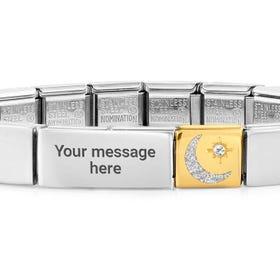 GLAM Gold Moon & Star Charm Engravable Bracelet