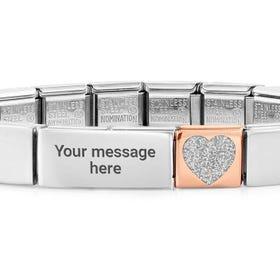 GLAM Rose Gold Glitter Heart Charm Engravable Bracelet