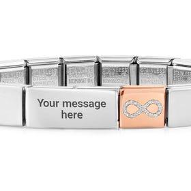 GLAM Rose Gold Glitter Infinity Charm Engravable Bracelet