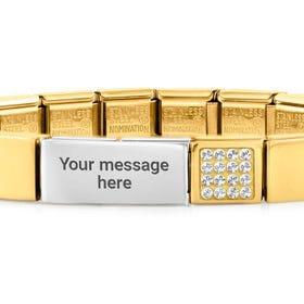 GLAM Gold Pave Crystal Engravable Bracelet