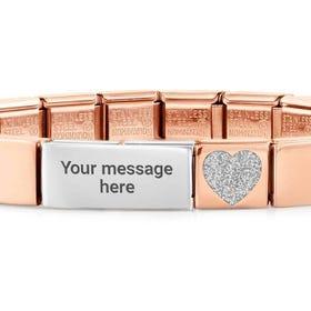 GLAM Rose Gold Glitter Heart Engravable Bracelet