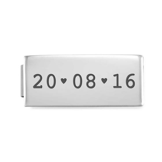 GLAM Double Charm Engraved with Date & Hearts