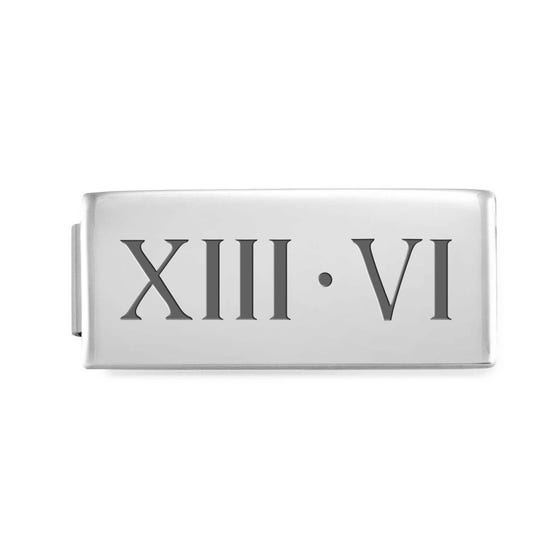 GLAM Double Charm Engraved with Roman Numeral Date