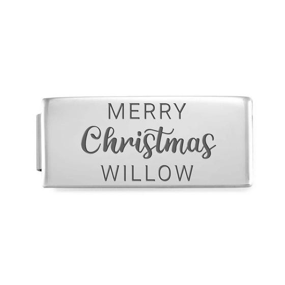 GLAM Double Charm Engraved with Name & Merry Christmas