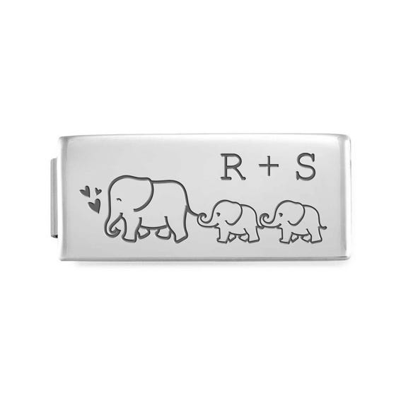GLAM Double Charm Engraved with Initials & Elephant Family