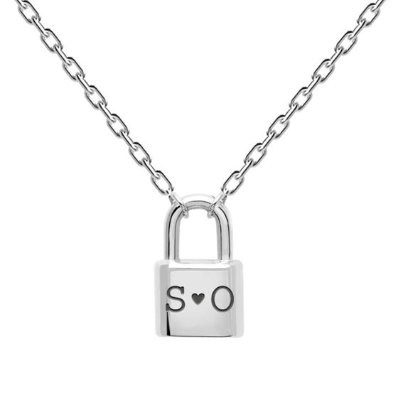 Silver Carved Initials Bond Necklace