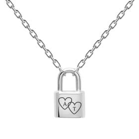 Silver Heart Initials Bond Necklace