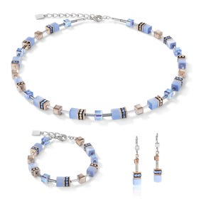 Precious GEOCUBE Jewellery Set Rose Gold & Cornflower Blue
