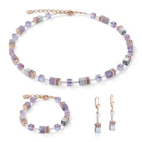 Precious GEOCUBE Jewellery Set Rose Gold, Light Amethyst & Hematite