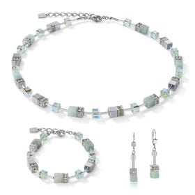 Precious GEOCUBE Jewellery Set Amazonite & Hematite