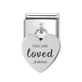 Classic Silver Heart Pendant Charm Engraved with Name & You Are Loved