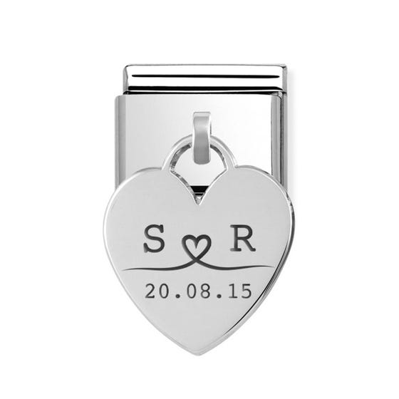 Classic Silver Heart Pendant Charm Engraved with Line Drawn Initials & Date