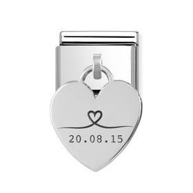 Classic Silver Heart Pendant Charm Engraved with Line Drawn Heart & Date