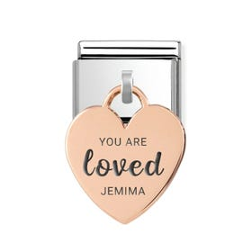 Classic Rose Gold Heart Pendant Charm Engraved with Name & You Are Loved