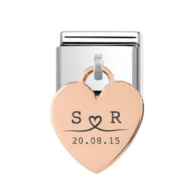 Classic Rose Gold Heart Pendant Charm Engraved with Line Drawn Initials & Date
