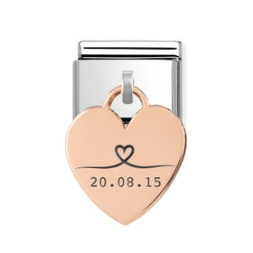 Classic Rose Gold Heart Pendant Charm Engraved with Line Drawn Heart & Date