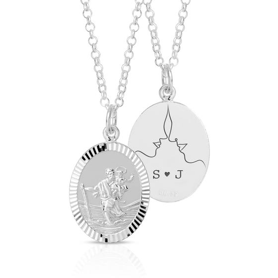 Silver Face Silhouette Initials St Christopher Necklace