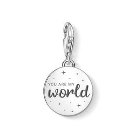 Charm Club Silver You Are My World Disc Charm