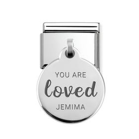 Classic Silver Round Pendant Charm Engraved with Name & You Are Loved