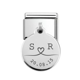 Classic Silver Round Pendant Charm Engraved with Line Drawn Initials & Date