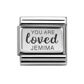 Classic Silver Charm Engraved with Name & You Are Loved
