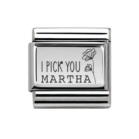 Classic Silver Charm Engraved with Name & I Pick You