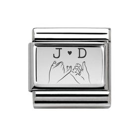 Classic Silver Charm Engraved with Initials & Loving Touch