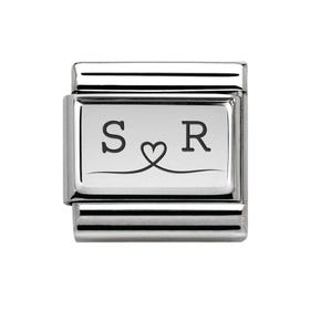 Classic Silver Charm Engraved with Line Drawn Heart & Initials