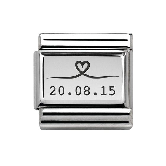 Classic Silver Charm Engraved with Line Drawn Heart & Date