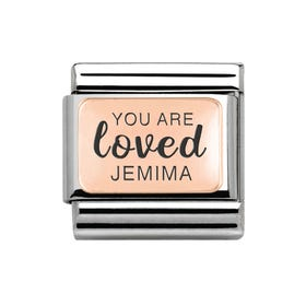 Classic Rose Gold Charm Engraved with Name & You Are Loved