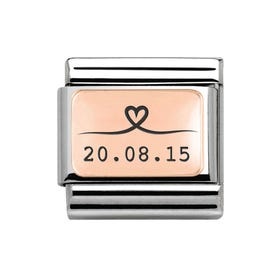 Classic Rose Gold Charm Engraved with Line Drawn Heart & Date