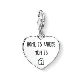 Charm Club Silver Home Is Where Mum Is Heart Charm