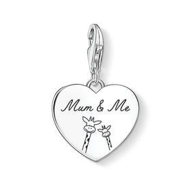Charm Club Silver Mum & Me Giraffe Heart Charm