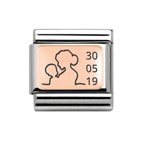 Classic Rose Gold Charm Engraved with Mother & Baby with Date