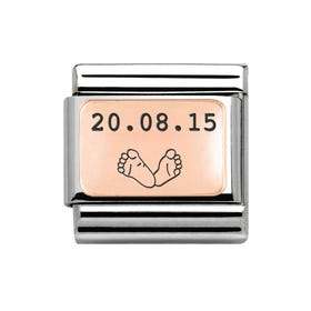 Classic Rose Gold Charm Engraved with Feet & Date
