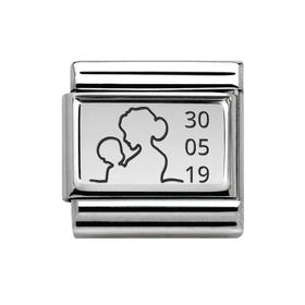 Classic Silver Charm Engraved with Mother & Baby with Date